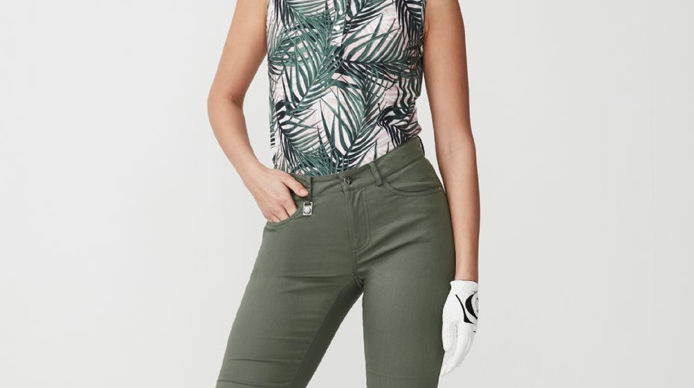 ROHNISCH PALM GREEN PIRAT PANT AND PALM PALE PINK ELEMENT AOP PRINT SLEEVELESS POLO SHIRT