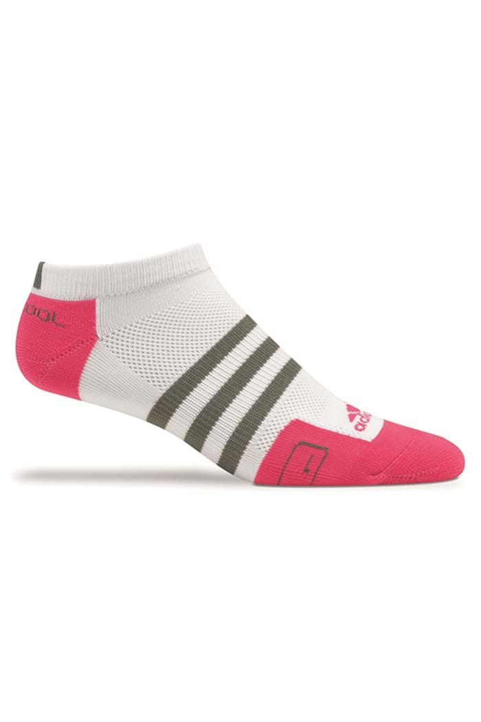 Picture of Adidas NO PIC Ladies Tour ClimaCool No Show Golf Sock - White/Watermelon/Grey