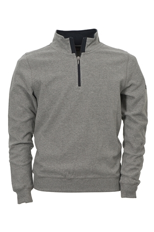 Picture of Oscar Jacobson Budd 1/2 Zip Sweater - Grey Marl - LAST ONE S