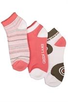 Picture of Green Lamb Delta Patterned Socks - Hibicus/Khaki/White