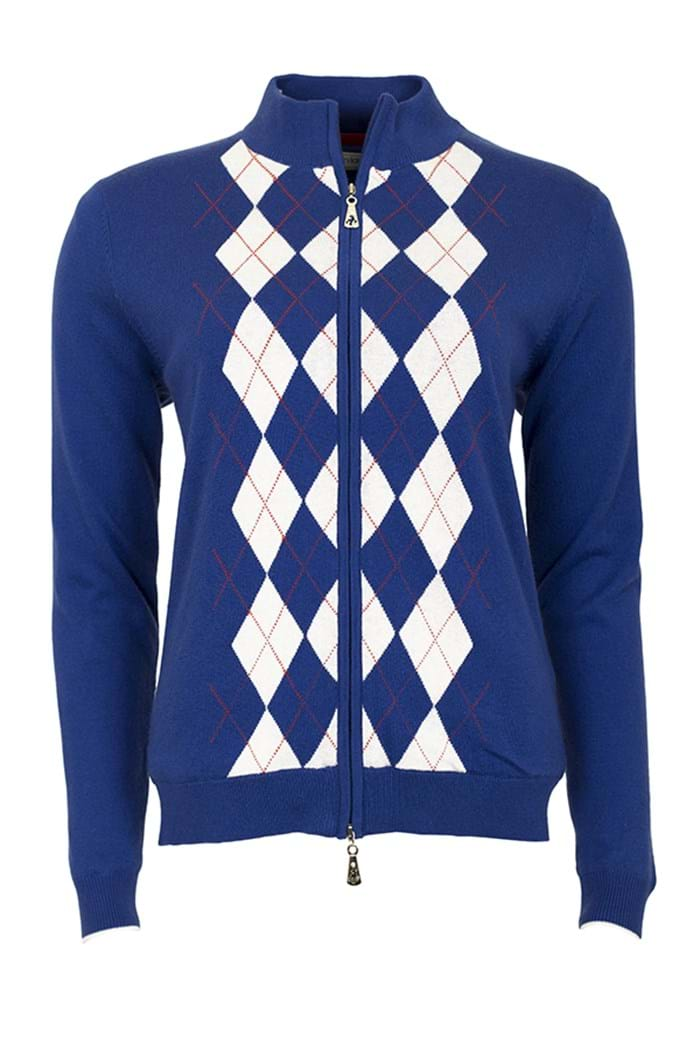 Picture of Green Lamb zns  Billie Lined Argyle Cardigan - Cobalt - LAST ONE