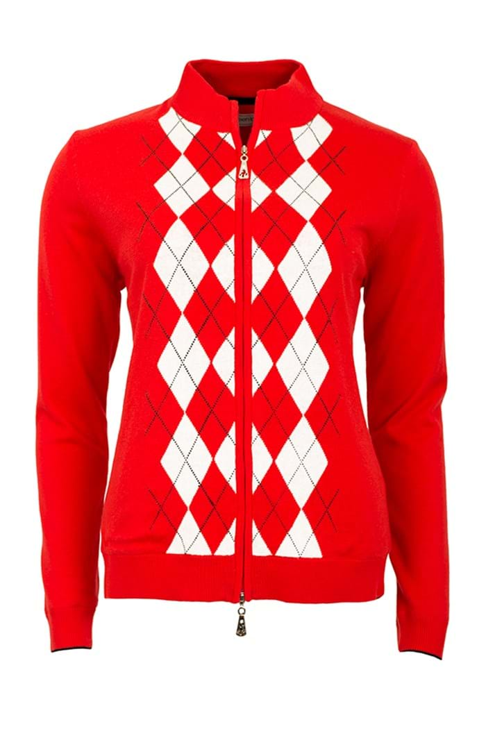 Picture of Green Lamb zns Billie Lined Argyle Cardigan - Red - LAST ONE
