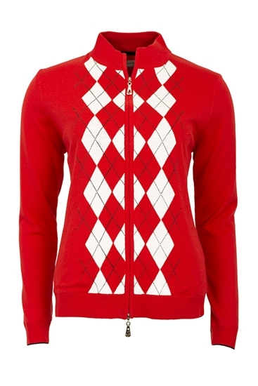 53cb929aed Green Lamb zns Billie Lined Argyle Cardigan - Red - LAST ONE - Green Lamb -  Eureka Golf