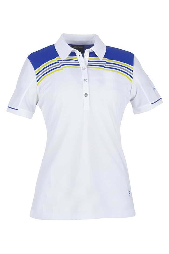 Picture of Galvin Green zns Mirabel Ventil8 Golf Polo shirt - White/Iris Blue/Lemonade