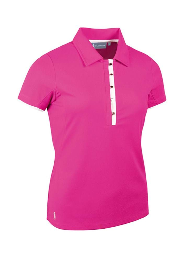 Picture of Glenmuir NOPIC Esme Performance Tailored Collar Polo Shirt - Hot Magenta/White