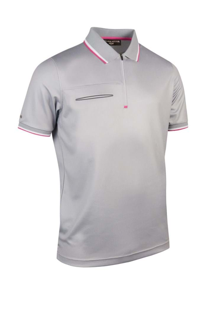 Picture of Glenmuir ZNS Oscar Performance Zip Neck Polo Shirt - Stardust
