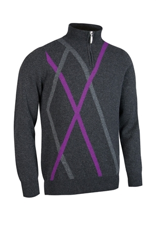 Picture of Glenmuir Middleton Zip Neck Sweater - Charcoal