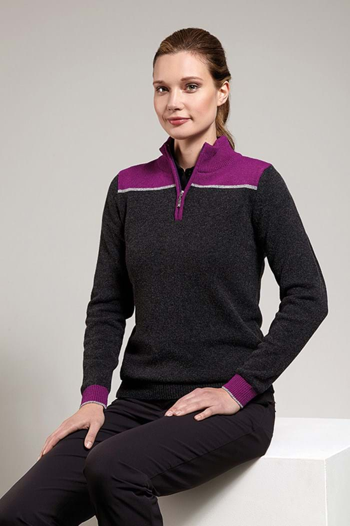 Picture of Glenmuir ZNS Rhian Zip Neck Sweater - Charcoal