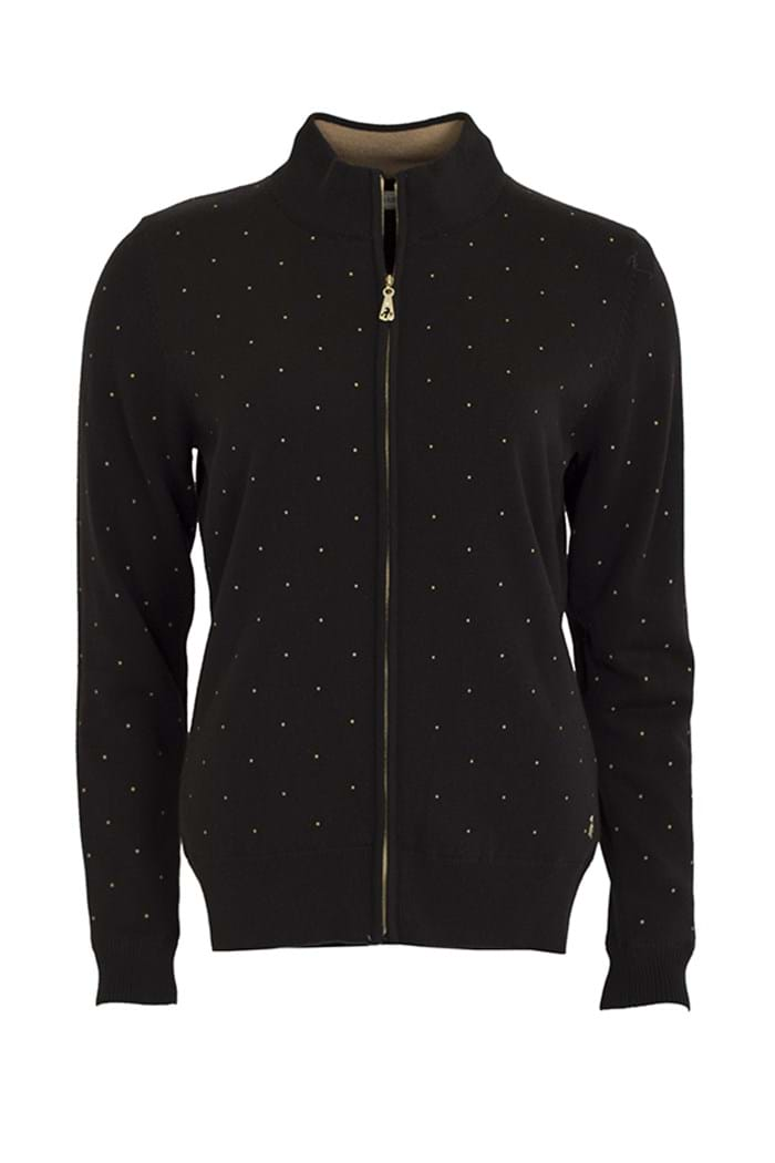 Picture of Green Lamb zns Blossom Lined Spot Print Cardigan - Black/Gold
