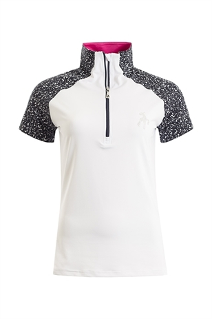 Picture of Green Lamb Francesca Raglan Zip Neck Polo Shirt - White/Navy
