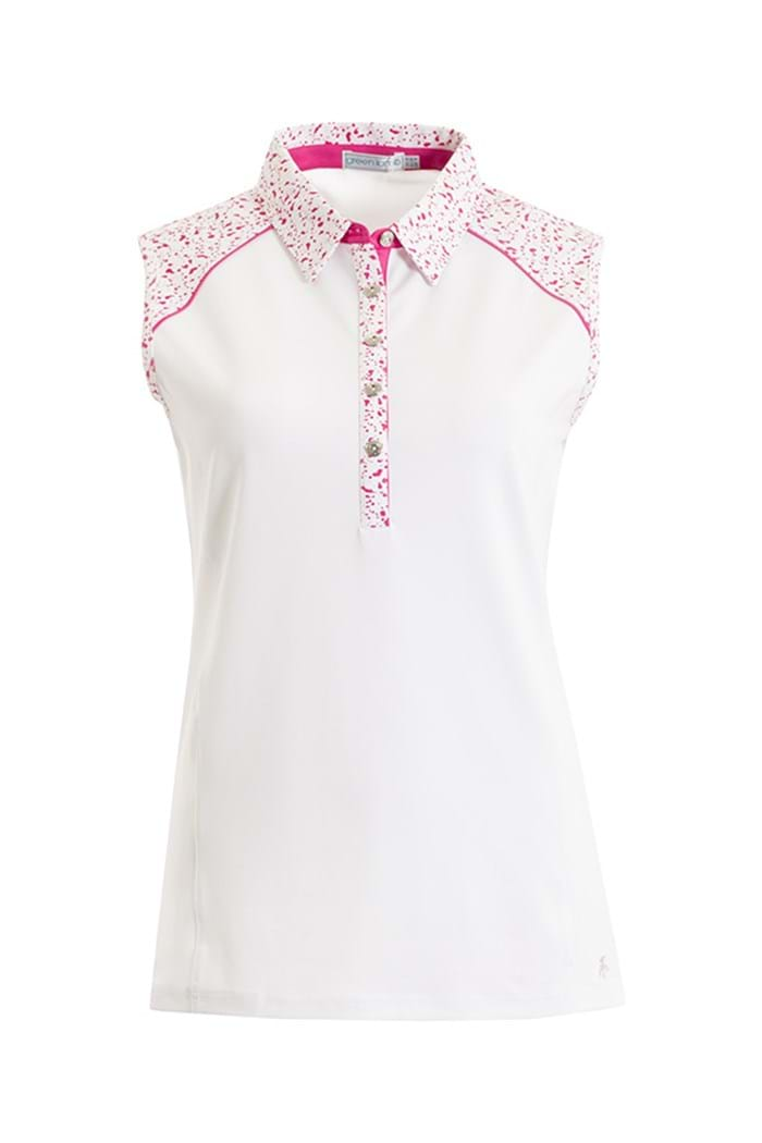 Picture of Green Lamb ZNS Fallen Sleeveless Trim Polo Shirt - White/Fuchsia