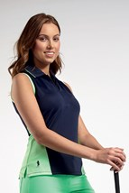 Picture of Glenmuir ZNS Meryl Sleeveless Panel Polo Shirt - Navy/Spring Green