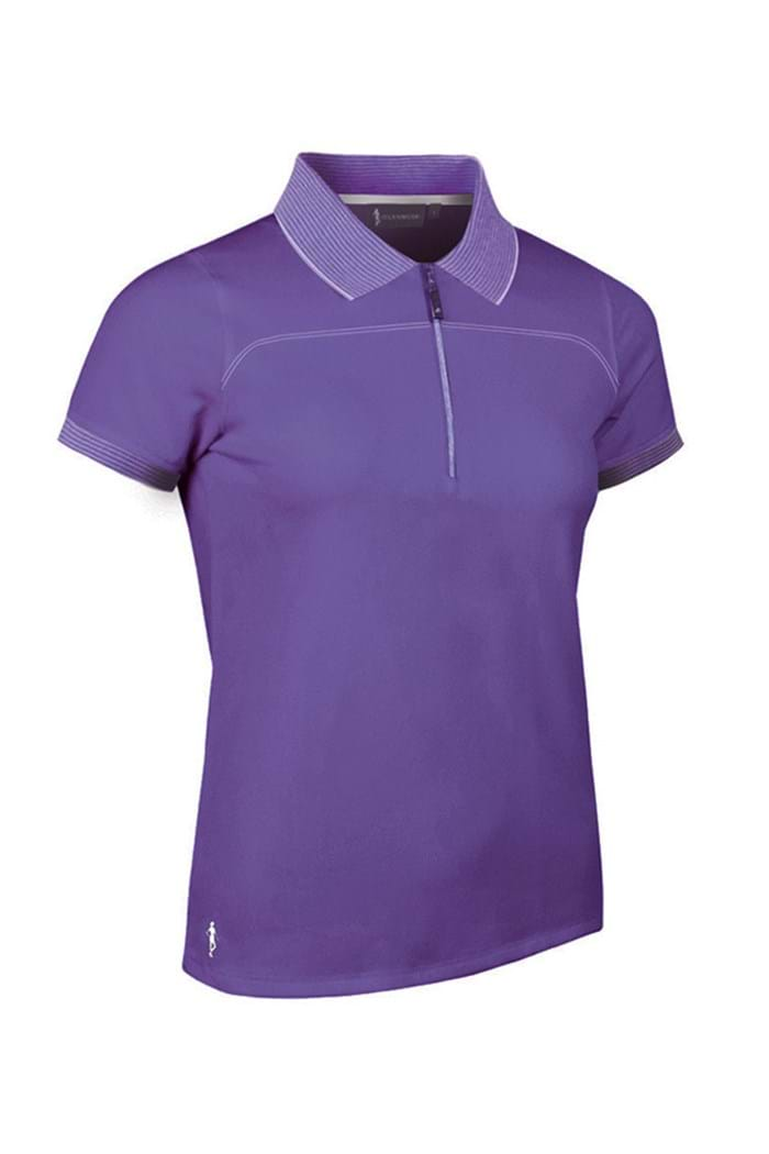 Picture of Glenmuir zns Nadia Zip Neck Performance Polo Shirt - Royal Purple/White