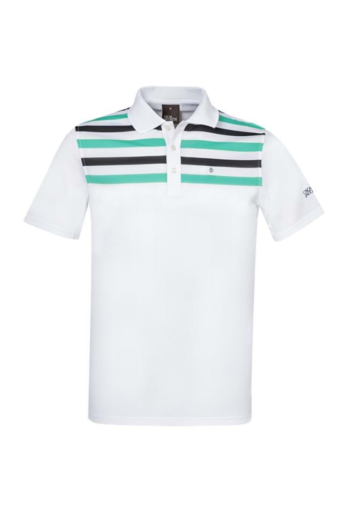 Picture of Oscar Jacobson Domingo Pin Polo Shirt - White / Aqua
