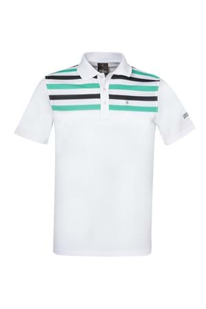 Picture of Oscar Jacobson Domingo Pin Polo Shirt - White / Aqua