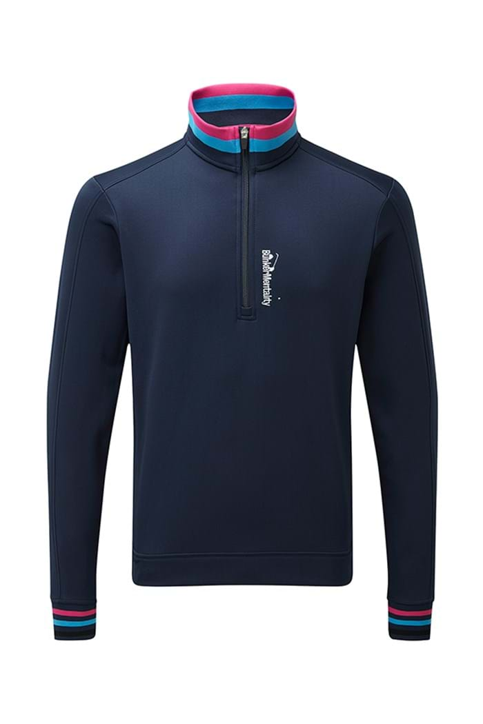 Picture of Bunker Mentality zns Tri-Colour 1/4 Zip Top - Navy