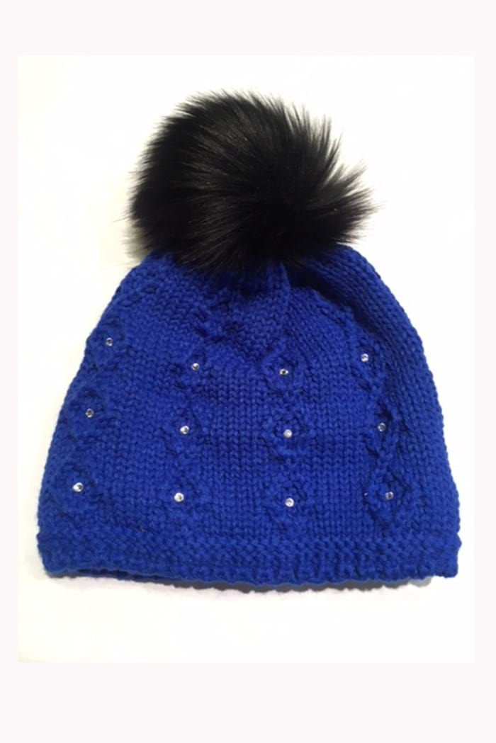 Picture of Sabbot zns Headwear Natalie Cable PomPom Beanie - Royal Blue 20c4c6ad012