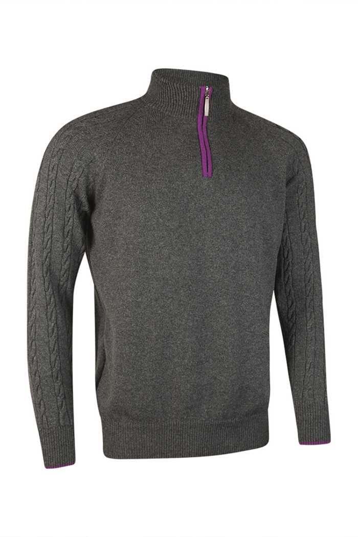 Picture of Glenmuir ZNS Apollo Zip Neck Sweater - Dark Grey/ Foxglove
