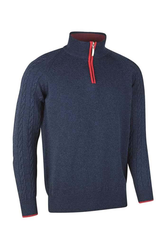 Picture of Glenmuir Apollo Zip Neck Sweater - Navy Marl/Garnet
