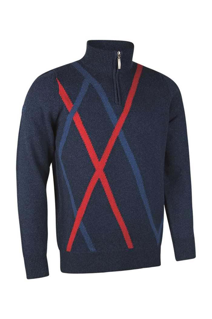 Picture of Glenmuir ZNS Middleton Zip Neck Sweater - Navy Marl/Petrol/Garnet