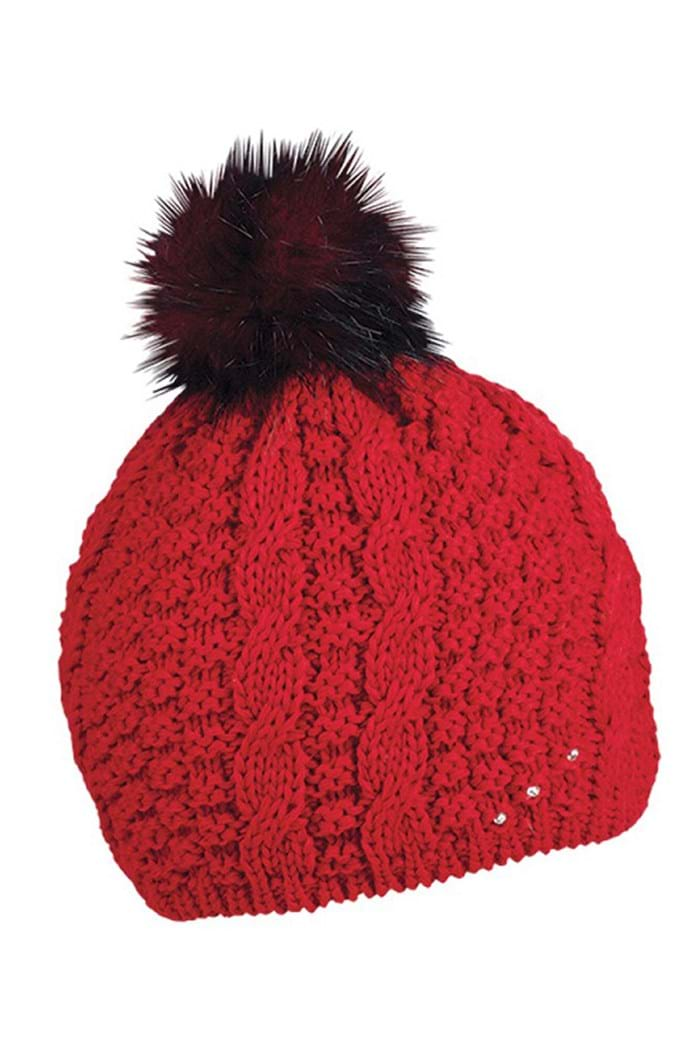 c8d29ac5554 Sabbot ZNS Frida Cable PomPom Beanie   Hat - Red - Sabbot Hats ...