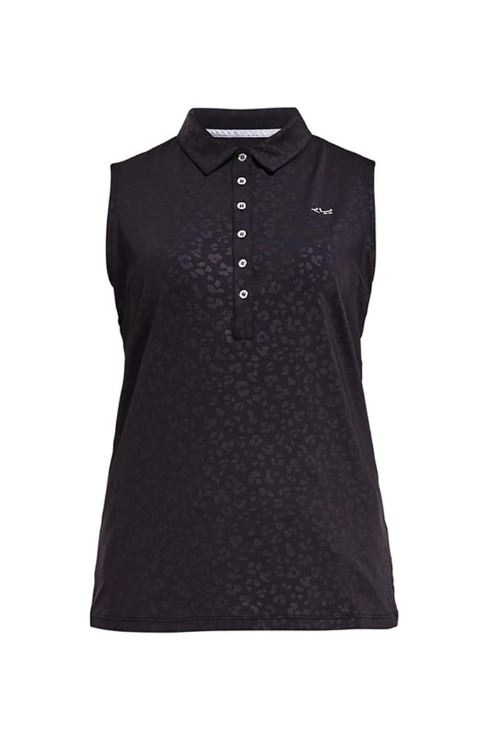 Picture of Rohnisch zns Ally Sleeveless Polo Shirt - Clover Emboss Black