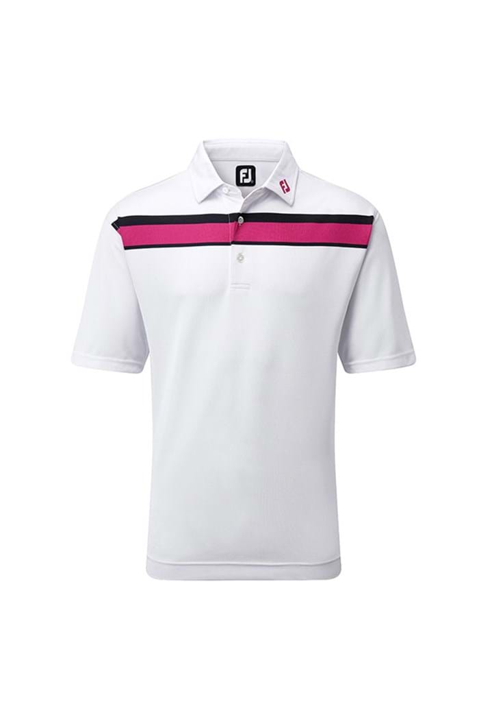 Picture of Footjoy Double Chest Stripe Polo Shirt - White/Berry/Navy