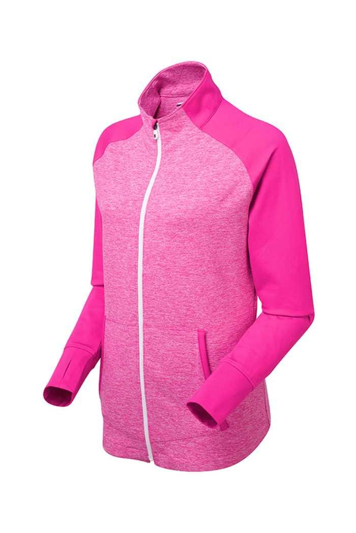 Picture of Footjoy ZNS Full Zip Brushed Chillout Top - Berry Space Dye