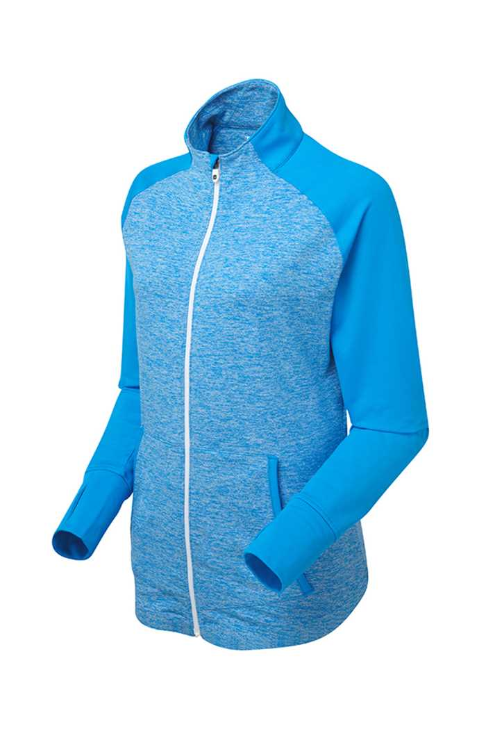 Picture of Footjoy ZNS Full Zip Brushed Chillout Top - Blue Space Dye