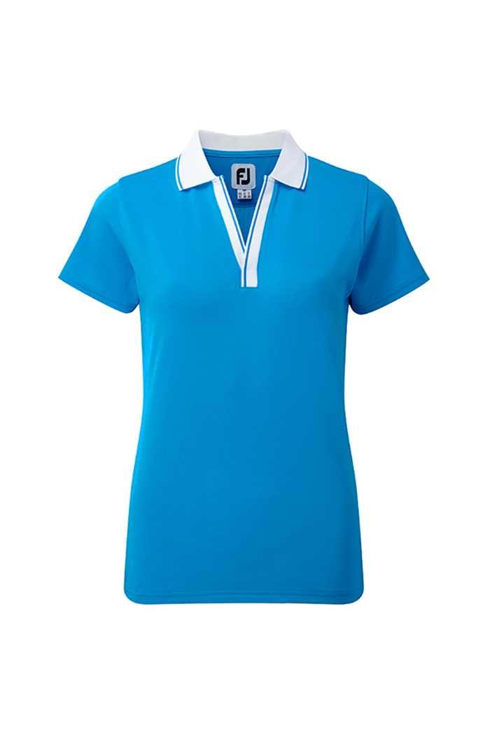 Picture of Footjoy Pique Open V-neck Polo Shirt - Blue/White