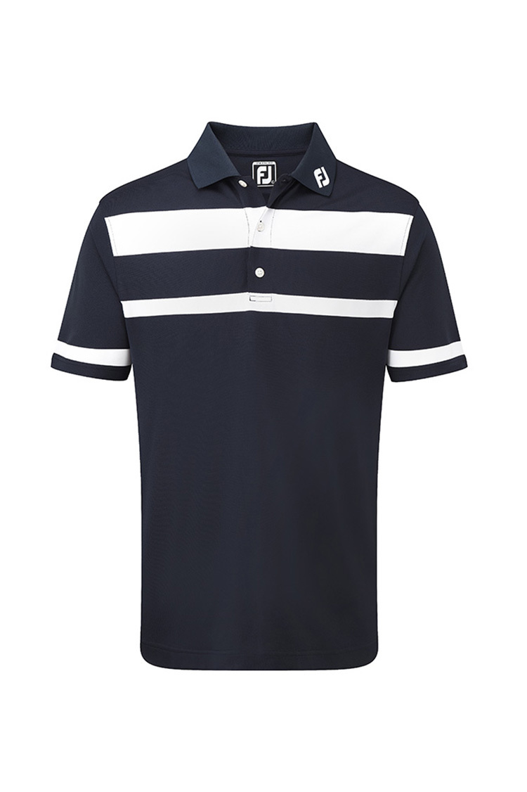 Picture of Footjoy zns Pique Stretch Engineered Stripe Shirt - Navy/White