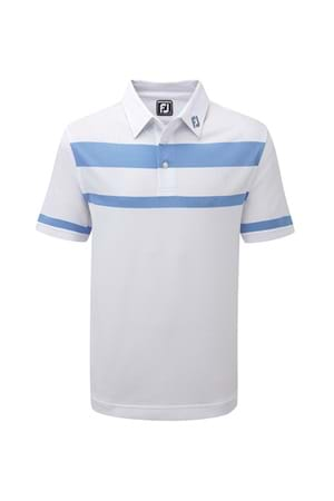 Picture of Footjoy Pique Stretch Engineered Stripe Shirt - White/Reef Blue