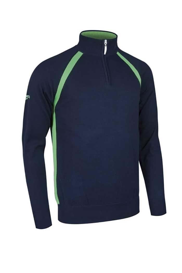 Picture of Glenmuir ZNS Albert Zip Neck Contrast Sweater - Navy/Spring Green