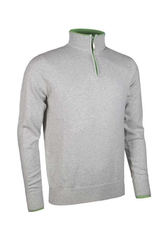 Picture of Glenmuir Clarke Zip Neck Ottoman Sweater - Stardust Marl/Spring Green