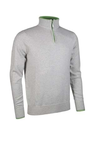 Picture of Glenmuir Clarke Zip Neck Ottoman Sweater - Stardust Marl/Spring Green