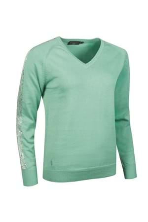Picture of Glenmuir Donatella V-Neck Sequin Sweater - Spearmint