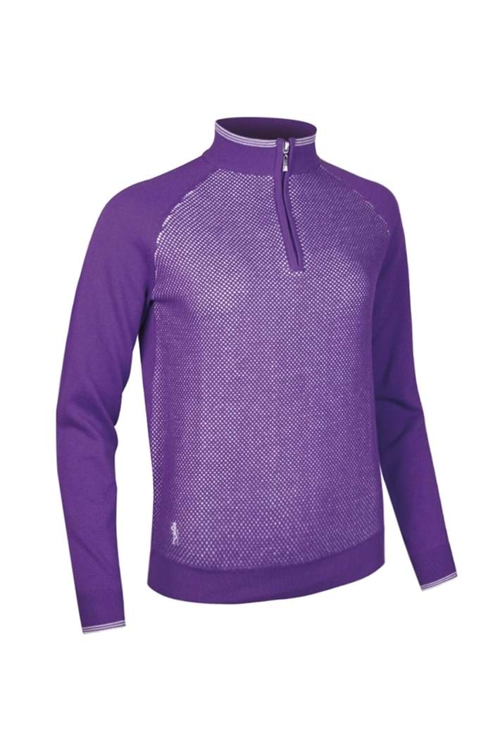 Picture of Glenmuir ZNS Imelda Cotton Zip Neck Texture Sweater - Royal Purple/White