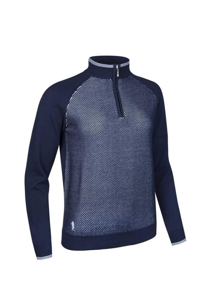 Picture of Glenmuir ZNS Imelda Cotton Zip Texture Sweater - Navy/White