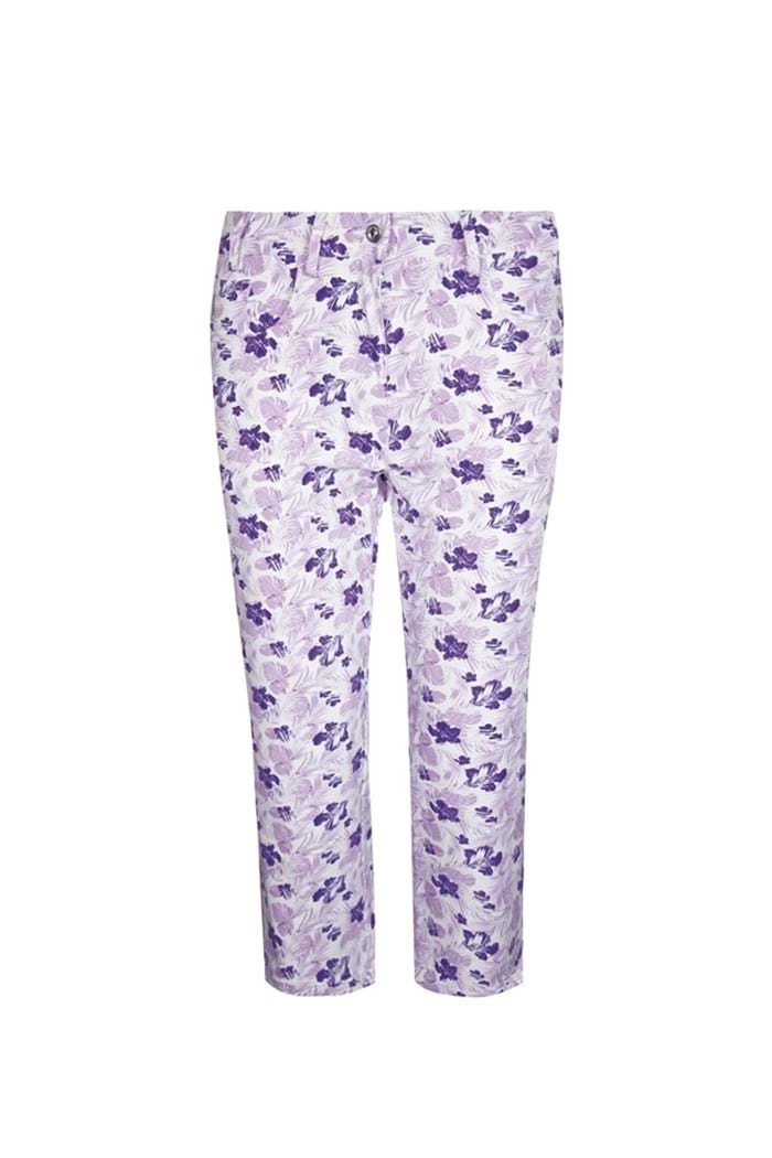 Picture of Glenmuir Matilda Patterned Capri - White/Royal Purple