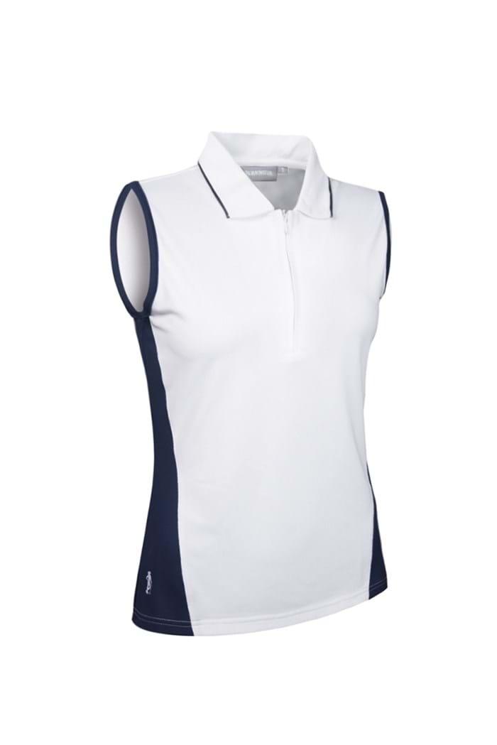 Picture of Glenmuir zns  Meryl Sleeveless Panel Polo Shirt - White/Navy