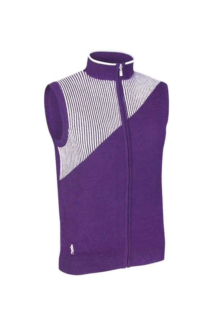 Picture of Glenmuir Rosamund Patterned Cotton Gilet - Royal Purple/White