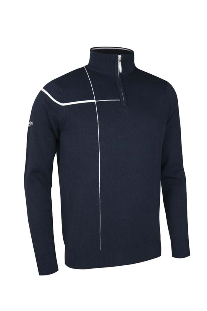 Picture of Glenmuir Warren Zip Neck Stripe Sweater - Navy/White