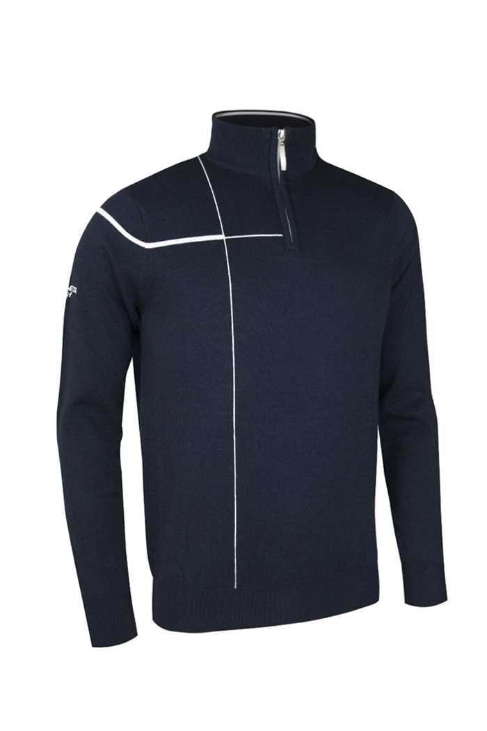 Picture of Glenmuir Warren Zip Neck Stripe Sweater - Navy/White