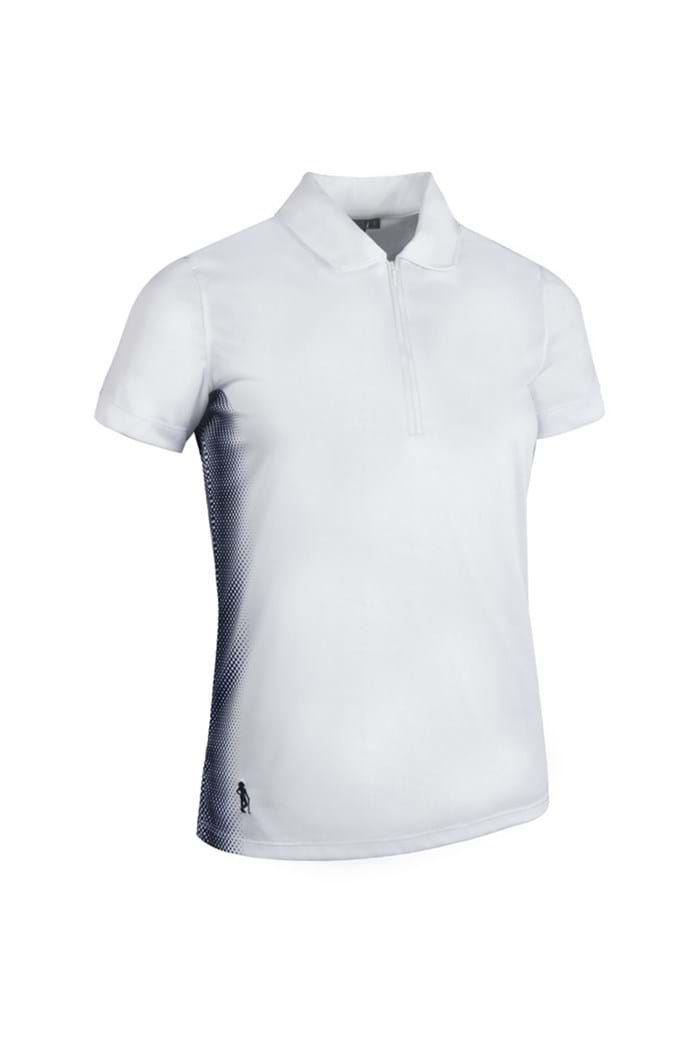Picture of Glenmuir zns Winona Side Panel Print Polo Shirt - White/Navy