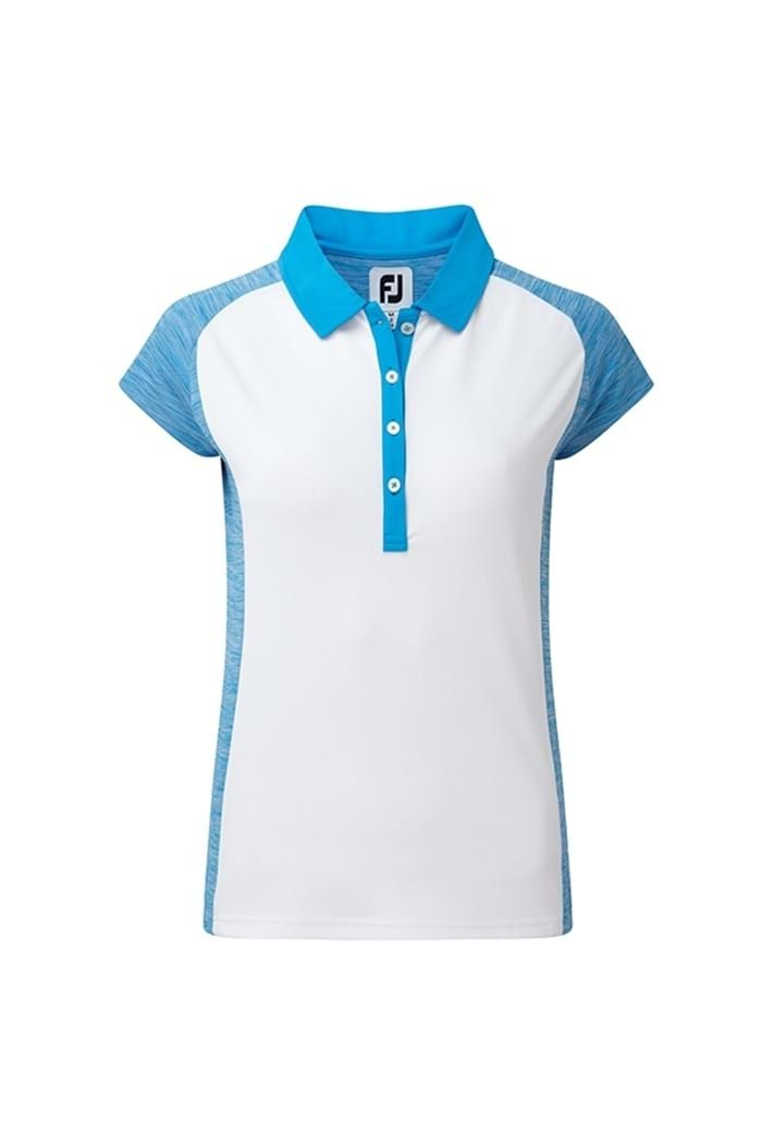 Picture of Footjoy ZNS Smooth Pique Cap Sleeved Polo Shirt - White/Blue Space Dye