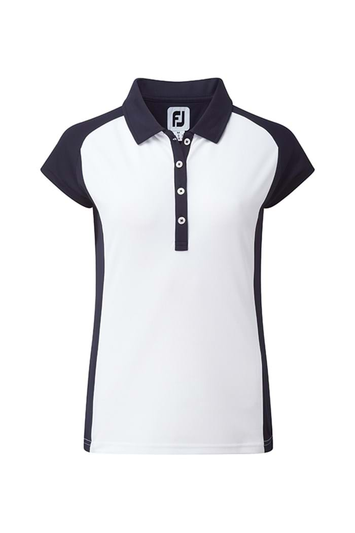 Picture of Footjoy ZNS Smooth Pique Cap Sleeved Polo Shirt - White/Navy