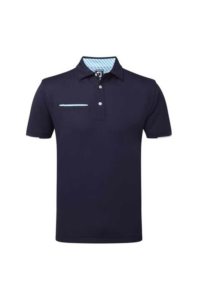 Picture of Footjoy ZNS Smooth Pique with Half Band Cuff Polo Shirt - Navy