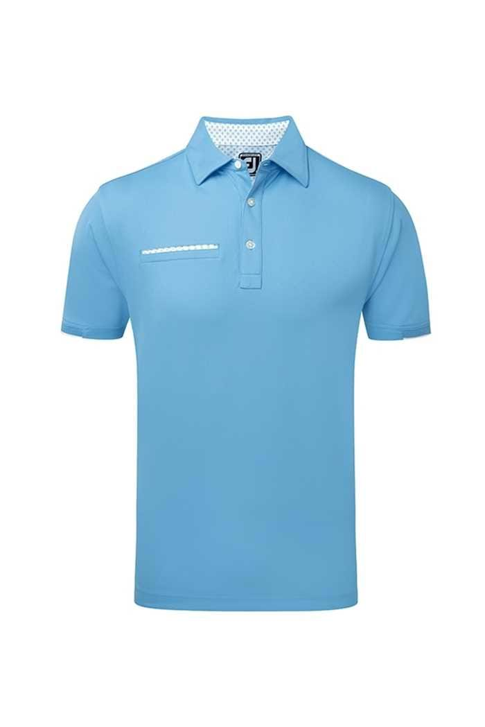 Picture of Footjoy ZNS Smooth Pique with Half Band Cuff Polo Shirt - Sky Blue