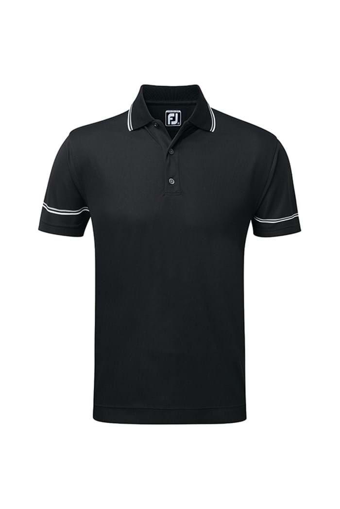Picture of Footjoy Smooth ZNS Tipped Polo Shirt - Black/Grey/White
