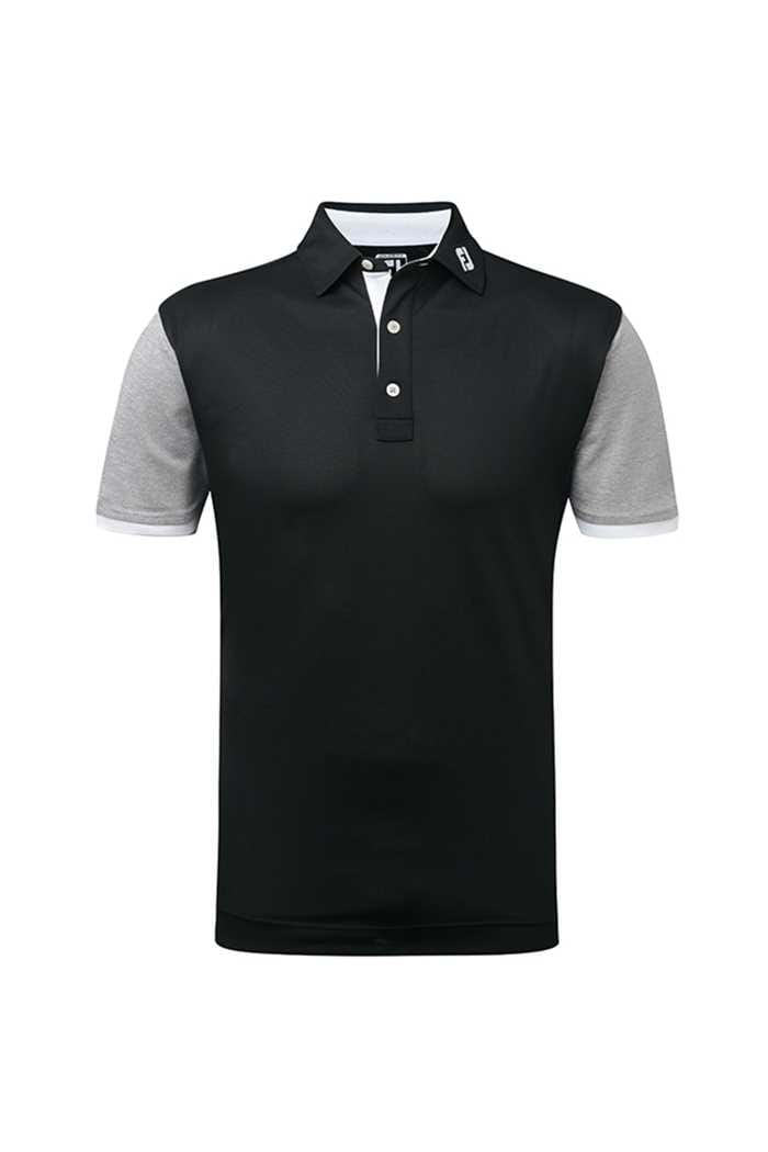 Picture of Footjoy zns Stretch Colourblock Pique with Contrast Polo - Black/White/Grey
